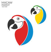 Parrot Macaw  flat icons — Stock Vector