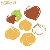 Hazelnut flat icons set — Stock Vector