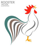 Singing rooster flat icon — Stock Vector