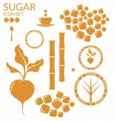 Sugar flat icons set — Stock Vector