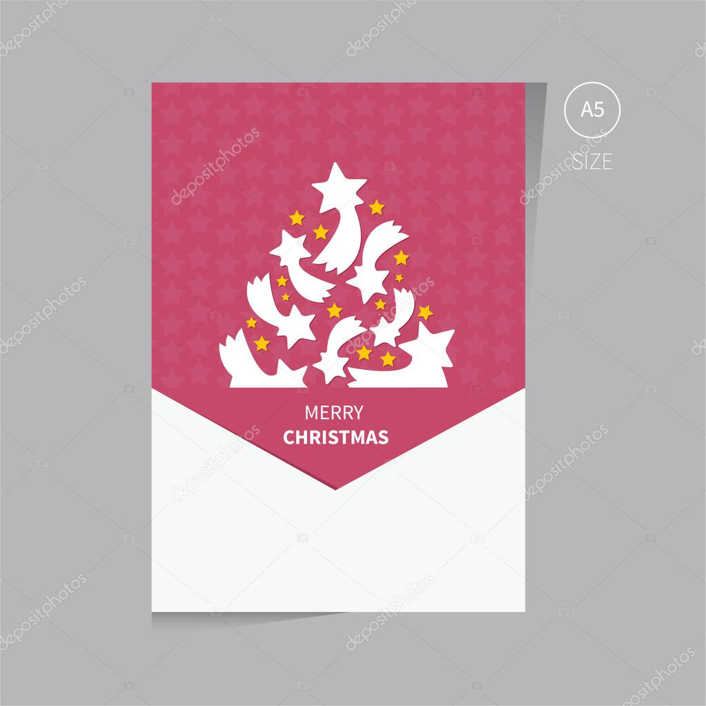 christmas tree brochure flyer design template size a stock christmas template of brochure flyer in red color tree from the stars vector by phillipes