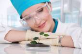 Woman biologist — Stock Photo