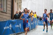 Triathletes Pierre Le Corre, Vincent Luis and Alessandro Fabian — Stock Photo