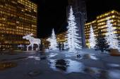 Christmas moose and christmas trees made of light — ストック写真