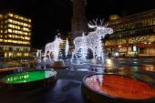 Christmas elks made of light — Stock Photo