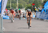 Sarah Groff, cycling in the transition zone — Stock Photo