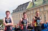 Brownlee brothers and Gregor Buchholz-2, prize ceremony — Stock Photo