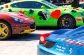 Colorful sports-cars before the start of the public event Gumbal — Stock Photo