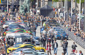 Fast sports-cars before the start of the public event Gumball 30 — Stock Photo