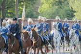 The Royal guards and the police on the horse back — Fotografia Stock