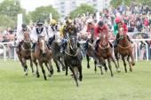 Corrida dura entre os cavalos de corrida — Fotografia Stock