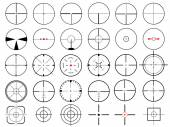 Set of thirty vector cross hairs, isolated on white — Stockvector