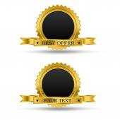 Golden award badge, with blank middle and ribbon, for text input, vector — Stock Vector