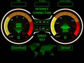 Internet connection speed test gauges,download and upload,with world map for server locations — Stock Vector