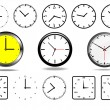 Office wall clocks, and 10 clock icons(black and white) vector — Stock Vector #52161359