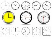 Office wall clocks, and 10 clock icons(black and white) vector — Stock Vector