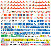 European traffic signs collection. Signs of danger. Mandatory signs.Signs of obligations. Signs of alerts. Supplementary tables. Tables of routing. Temporary traffic signs. 308 signs, vector. — Stock Vector