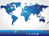 World map in slight 3d look and perspective, with colorful pins and banners for location pinpoint — Vecteur