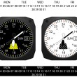 Airplane cockpit instrument clock,with day and date function, vector — Stock Vector #52208895