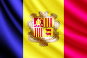 Waving flag of Andorra, vector — Stock Vector