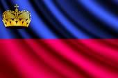 Waving flag of Liechtenstein, vector — Stock Vector