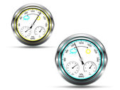 Two barometer instruments,with light indicator in two colors, depending on air pressure, with metal frame, isolated on white,vector — Stock Vector