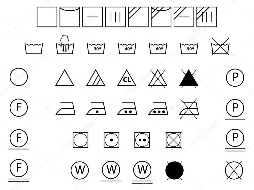 Symboles de lessive pour le lavage s chage d coloration - Instructions de lavage symboles ...