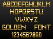Custom golden font of English alphabet and numbers — Stock Vector