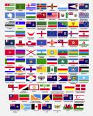 Flags of the world, dependencies, provinces, islands, territories, disputed territories, regions, non recognized by UN, self proclaimed, collection, eps 10 — Stock Vector