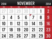 Calendar for November 2014 — Stock Vector