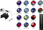 High detailed national flags of Australia and Oceania countries, clipped in round shape glossy metal buttons, vector — Stock Vector