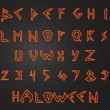 Scary handwritten English alphabet font, Halloween style — Stock Vector #53901847