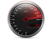 Speedometer showing maximum speed with needle in red, with metal frame and analogue - digital display, isolated on white — Stock Vector