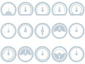 Set of fifteen flat, simple, speedometer style icons. Speedometer, Fuel, Scale, Full, Empty, Battery, Status. Eps 8. — Stock Vector