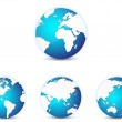 World globe icons set, with different continents in focus. Isolated on white. — Stock Vector #59387705