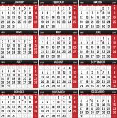Calendar for the year of 2018 — Stock Vector