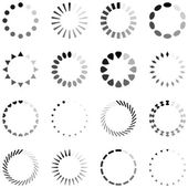 Loading, progress or buffering spinning icons, black and white — Stock Vector