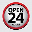 24 Hours Open Glass Sign with Red border — Stock Vector #52206743