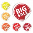Big Sale tags with Sale up to 10 - 50 percent text on circle tags — Stock Vector #52206817