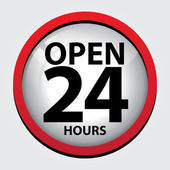 24 Hours Open Glass Sign with Red border — Stock Vector