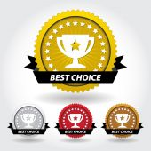 Best Choice Sticker and Sign with Cup and Stars — Stock Vector