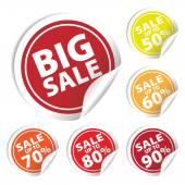 Big Sale tags with Sale up to 50 - 90 percent text on circle tags — Stock Vector