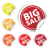 Big Sale tags with Sale up to 10 - 50 percent text on circle tags — Stock Vector