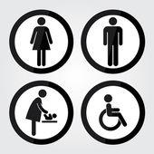 Black Circle Toilet Sign with Black Circle Border, Man Sign, Women Sign, Baby Changing Sign, Handicap Sign — Stock Vector