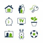 Home simple vector icon set — Stock Vector