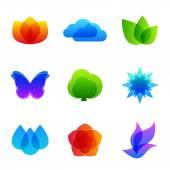 Colored nature vector icon set — Stockvektor