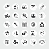 Industry and ecology total vector icon set — Stock Vector