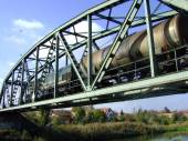 Freight train on the bridge — Stock Photo