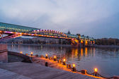 Embankment of the Moscow river. Andreevsky Bridge in the evening — Stock Photo