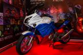 Motopark-2015 (BikePark-2015). The exhibition stand of the tuning Studio for motorcycles MGS-Moto. The motorcycle (sportbike) is painted in the colors of the Russian Flag. — Stock Photo
